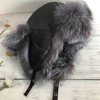 Quente Unisex real Silver Fox Fur Hat Russian Ushanka Inverno Aviator Trapper Bomber Cap Earmuffs Ski