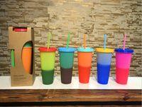 710ml Креатив Температура цвета Изменение Кубок с соломой и пластиковой крышкой обесцвечивание Кружки летний напиток бутылки воды