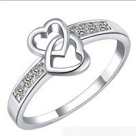 Regalo de Navidad de plata Anillos de compromiso Corazones circón anillos de dedos doble del encanto del corazón de cristal austriaco joyería CZ Amor Hermoso