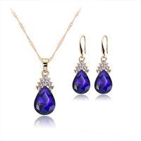 Presentes colar de jóias conjunto para mulheres colar de corrente Water Drop Cristal Diamante Ouro ajustado para meninas Lady Moda jóias de casamento