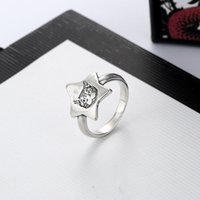جودة عالية حار بيع الفضة مطلي الدائري للإناث الخماسي القط رئيس الدائري شخصية الاتجاه الدائري الأزياء والمجوهرات العرض