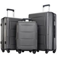 """3 piezas de equipaje Conjunto, Portátil ABS caja de la carretilla de 20"""" / 24"""" / 28"""" Negro, expandible 8-Wheel Spinner Spinner Juego de equipaje con la manija telescópica, C"""