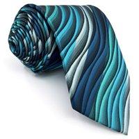 Y23 الفيروز متعدد الألوان تموج المستخلص كلاسيكي الحرير إضافي طويل الحجم الرجال ربطة العنق التعادل