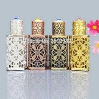 3 ml Antiqued Metall Parfüm-Flasche arabischen Stil Legierung höhlen heraus Ätherische Öle Flasche Naher Osten Dropper Glasflasche