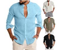 Camisas novas dos homens de chegada Polos V-neck manga comprida de linho partido Camisas Casual respirável presente Tamanho M-3XL