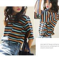 Корейский o-шеи футболка для женщин Kawaii Striped Tops Harajuku футболка лето с коротким рукавом повседневная свободная футболка Camiseta Feminina