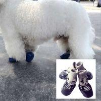 ГОРЯЧАЯ Хлопок Rubber Pet Обувь для собак Водонепроницаемого Нескользящих собак дождя снег сапог носки обуви для щенков малых кошек Собаки