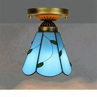 نمط تيفاني رخيصة السقف الزجاجي الملون أضواء 6 بوصة الأزرق ورقة الفن ديكو زجاج الممر ضوء الممر شرفة سقف مصباح صغير TF063