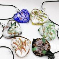 6x Herz beschmutzter Murano Glashalsketten-Anhänger CHIC