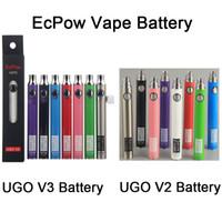 ECPOW Ugo V2 V3 III batteria Vape 650 900mAh 510 filettatura ECigs preriscaldamento VV batterie evod ego micro caricatore USB vaporizer penna batteria originale
