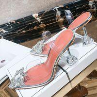 Meifeini 2019 verão sapatos nova sandálias femininas transparentes moda elegante geléia stiletto apontou saltos altos strass Y200620