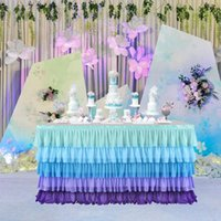 Tischrock 5 Schicht violett blau Spleißen Chiffon Tüll Röcke Geschirr Geburtstag Party Dekorationen Bankett Hochzeit Home Supplies