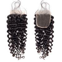 Brasilianische Tiefwellenbündel mit Schließung 4 * 4 Freies Teil Spitze 3 Bündel mit Verschluss vshow Remy Human Hair Bündel mit Schließung