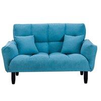 WACO Dormitorio Moderno Sleeer Sofá perezoso, Ajustable Atrás Redondo Brazo de madera maciza Piernas de madera maciza con bolsillo lateral Sofá Muebles de interior azul