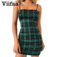 Gelegenheitskleider VIIFAA grün Plaid Bodycon-Kleid Frauen 2021 Rückenkrawatte Abschneiden Sexy Party Spaghetti Strap Sommer Mini
