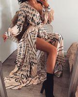 Женщины Платья весна и лето Письмо печати V-образным вырезом Длинные юбки с длинным рукавом платье сексуальное вскользь способа