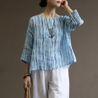 Женская футболка Johnature Womans Blue Striped футболки Ramee высокое качество летние ткани 2021 O-шеи пэчворк семь рукав
