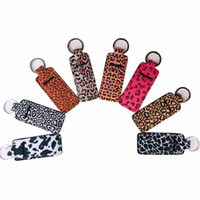 Chapstick Holder Neoprene Wristlet Keychain Marble Printed Chapstick Cover Lipstick Holder Bag Wristband Key Ring Party Favor CYZ2554