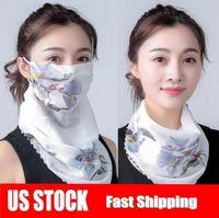US-Stock-preiswerte Frauen-Schal-Gesichtsmaske Sommer Sonnenschutz aus Seidenchiffon Handkerchief Außen windundurchlässiges Half Face Staubdichtes Schals FY6129