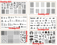 HQ 6Style Lo Go Brand Designs Nail Art Stamping Piatto * con foglio di plastica * Timbro Big XL Design Image Plates Transfer Polacco Modello di stampa