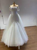 Meerjungfrau Brautkleider mit abnehmbarem Zug weg von der Schulter Lace up Zurück Sweep Zug Wichtige Perlenstickerei Brautkleider vestidos de novia