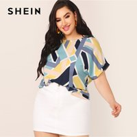 SHEIN Plus Size Multicolor Geo Print Cuffed Sleeve Top Blous...