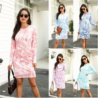 Mulheres Tie Dye Verão Vestidos manga comprida Crew Neck Vestidos Beach Holiday Slim Fit Clothes