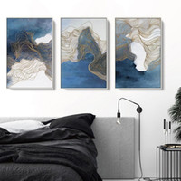 3 Panels Abstract Oil Painting Blue Psychedelic Line Posters...