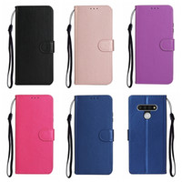 PU 평범한 지갑 LG 스타일러스 6 5 K51 Huawei Y5P Y6P Y8P P 스마트 P40 Lite E 프로 마그네틱 홀더 플립 커버 끈 신용 ID 카드 슬롯 로즈 골드 핑크 파우치