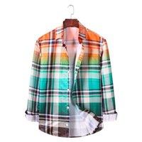 Chemises occasionnelles pour hommes Dégatrage à manches longues Contraste à carreaux de chemise à carreaux de chemise de motif Standard-Fit Down gingham