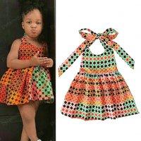 Mädchen Kinder Kleidung African Boho Artdruck Kleid Kinder Strapless Halfter Prinzessin Kleider 2020 Sommermode Babykleidung