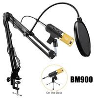 BM900 Kondenser Stüdyosu USB Mikrofon Seti Set Profesyonel Kayıt Mikrofon ile Digita Yankı ve Ses Ayarı Standı Tripod ve Pop Ayarlayın