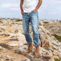 SIMWOOD 2020 весной новые джинсы мужчин света мыть прямо обычные тонкие подходят джинсовые брюки плюс размер одежды марки SI980725