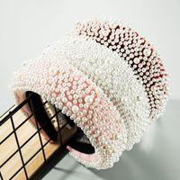 Роскошная полная жемчужная повязка на повязку волос женское мода жемчужина широкий край утолщенные губка обруч для волос для женщин партии ювелирные изделия аксессуары для волос