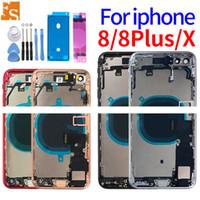Flex Kablo Parçaları Montaj DHL Free ile iPhone 8 8plus Artı 8G XR Geri Orta Çerçeve Şasi Pil Kapı Arka Kapak Gövde için tam Konut