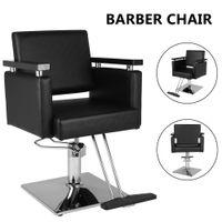 Waco Barber Chair، الجلود الهيدروليكية مربع قاعدة تصفيف الشعر أثاث الحانة صالون الجمال سبا التصميم شامبو كراسي حلاقة الشعر الأسود