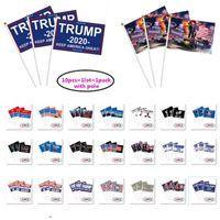 14 * 21см Donald Trump Hand Flag 2020 США Выборы Баннер Флаги Keep America Great Mini Hand Held Палка Флаги DDA152