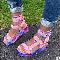 Gladiator Sandals Senhoras Plano Plataforma Sapatos coloridos de New Mulheres Casual Praia Verão Sandals Big Size 35-43 tyu78