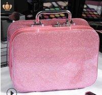 20 Maquillaje bolsa caso de la nueva llegada Shinning Belleza urbana de gran capacidad sólida de cuero con cremallera PU Los más vendidos Llanura Mano
