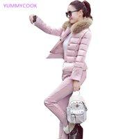 YUMMYCOOK nouvelle veste coton femmes costume coton hiver chaud épais mode tempérament tendance décontractée vers le bas en deux parties costume Y232