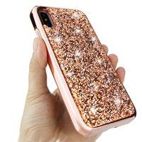 Bling 2 en 1 Diamant de luxe strass paillettes Téléphone pour iPhone 11 XR LG 4 5 G8 Stylo V50 K40 MOTO E6 G7 Hybrid Power antichocs Case