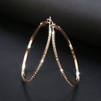 2020 Fashion Hoop Earrings With Rhinestone Circle Earrings Simple Big Circle Gold Color Loop For Women