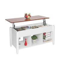Levante Top Coffee Table com Invisível Compartimento e armazenamento Prateleiras Moda Modern Living Room Móveis Branco
