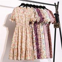 Kadın Şifon Elbise 2020 Yaz Moda Kadın Kısa Kollu Vintage Baskılı Çiçek Günlük Elbiseler V Yaka A-Line Vestidos