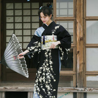 Donne tradizionale giapponese Kimono di alta qualità stampa floreale lungo Kimono sexy geisha Yukata Cosplay asiatico Clothings