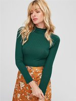 Womens Half Turtleneck Autumn Knits Woman Solid Color Short ...
