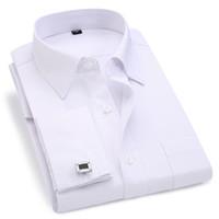 Hombres Francés Gemelos Camisa 2020 Camisa rayas de los nuevos hombres de manga larga Casual Male camisas de vestir de marca Manguito Slim Fit Francés camisas CX200803