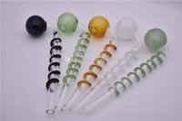 90 degree 14cm Colored head pyrex oil burner pipe spiral oil pipe thick heady glass oil rig water pipe for smoke tube
