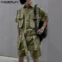 Fashion Cargo Rompers Men Solid Color Shorts Jumpsuits Vinta...