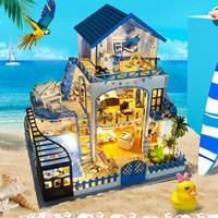 Sylvanian Casa DIY Hut azul do mar do amor Handmade criativa Modelo Madeira DIY Dollhouse Brinquedos para meninas Presentes do Valentim Brinquedos cWE9 #